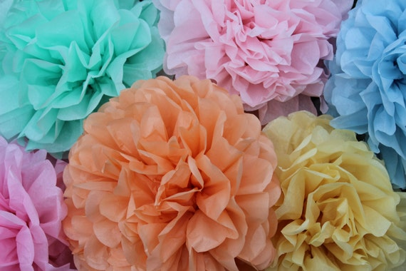 5 tissue Pom Poms- pick your colors- wedding decorations/ photography prop/ baby shower decorations/ Valentines Day Decorations