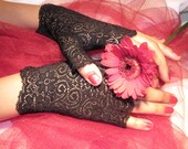 Black fingerless lace gloves, accessory, swirly design