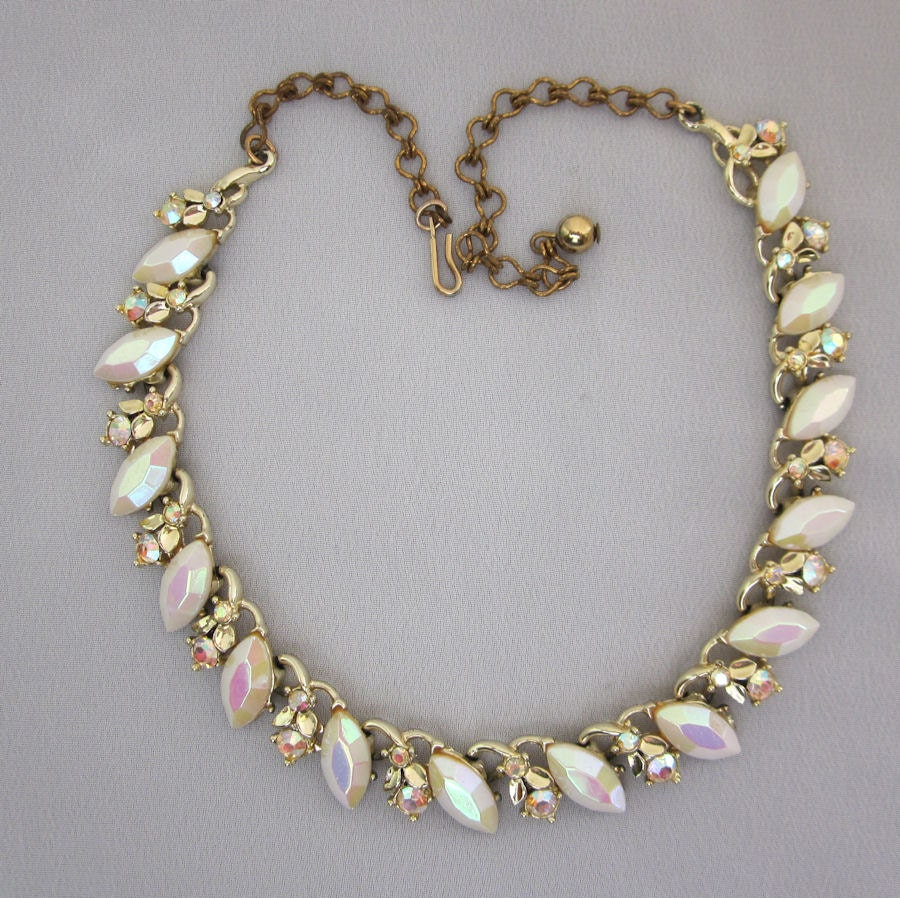 1950s BSK AB Rhinestone Necklace Vintage Collar Necklace