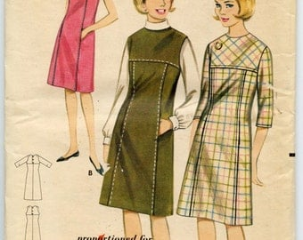 1960s Butterick 3243 Misses Sleeveless or Three Quarter Sleeve Jumper or Dress Vintage Sewing Pattern Bust 34