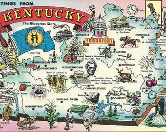 Greetings From Kentucky Map - 1970s Vintage Postcard