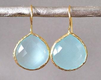 Aqua Teardrop Chalcedony Earrings