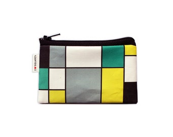 Coin purse Turquoise Yellow Grey and Black squares printed Wallet coin purse summer colors bright and sexy zipper pouch