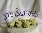 Mr Mrs Cake Topper, Purple Or Custom Colors, Style 2
