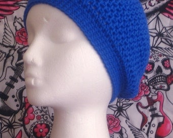 """Crochet hat slouch beanie in Pacific blue made to fit teens and adults 20-22"""" inches"""