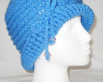 Blue hand crochet cloche (flapper) style hat