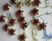 Vintage Star Shaped Siam Ruby   Rhinestone  Drop