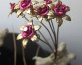 6 Brass Rose Lil Darling Mini Flowers