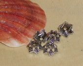 Tibetan silver flower bead cap- 7 mm -(per 25 pieces)-AA18