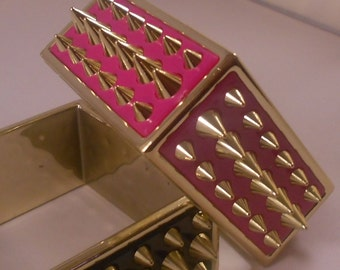 Square Hot Pink Spike Bracelet Basketball Wives Inspired Poparazzi
