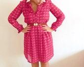 Vintage Raspberry White Collar Print Dress SALE - for julia