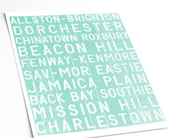 Boston Bus Roll Typography Art Print / Subway Art Transit Scroll Print Choose your Color / 8x10 Digital Print / Choose your color