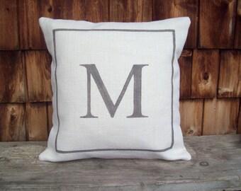 Initial Pillow Cover - Custom Monogram Pillow - Personalized Pillow - Decorative Pillow - Burlap Pillow - Burlap Home Decor - Initial Decor