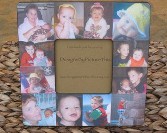 "Baby's First Year Collage Picture Frame, Unique Custom Baby Picture Frame, Personalized Picture Frame, Unique Father's Day Gift, 8"" x 8"""