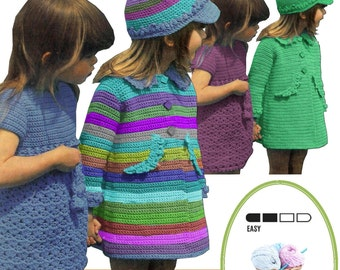 Instant Download  VKNC74 Beautiful Girls Hat Dress and Coat crochet Pattern INSTANT DOWNLOAD