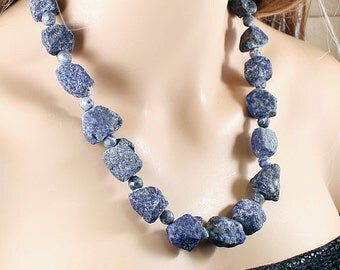 Lapis lazuli necklace: raw stone necklace, rough gemstone jewelry, chunky necklace, blue crystal raw gemstone necklace big stone