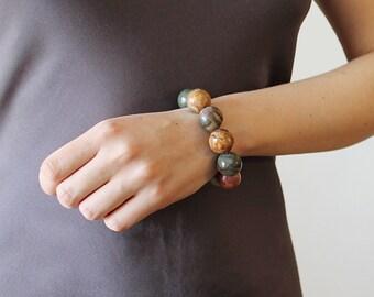 Picasso jasper bracelet natural big stone bracelet chunky gemstone bracelet chunky bracelet earthy, brown and gray chunky stone bracelet