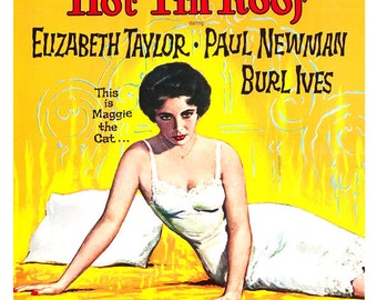 "Cat on a Hot Tin Roof -  Movie Poster Print - 13""x19"" or 24""x36"" - Large Movie Poster - Elizabeth Taylor - Paul Newman"