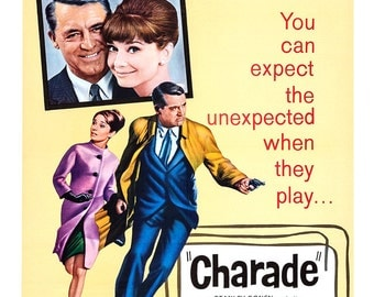 "Charade - Classic Movie Poster Print  - Home Theater Media Room Decor - 13""x19"" or 24""x36"" - Cary Grant - Audrey Hepburn -"