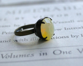 Clearance - Vintage Jonquil Yellow Sabrina Glass Jewel Ring, Oxidized Brass, Czech Glass, Estate Style Ring, Round Jewel, Lemonade, Citrus