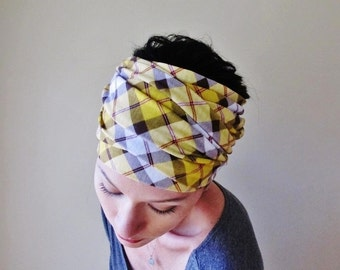 PLAID Head Scarf - Yellow Plaid Headband - Extra Wide Hair Wrap - EcoShag Hair Accessories - Womens Hair Accessory