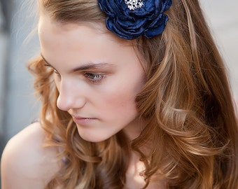 Navy hair flower - Blue hair clip - Blue hair flower - Navy flower clip - Bridal hair flower - Nautical wedding - Beach - Hair acessories
