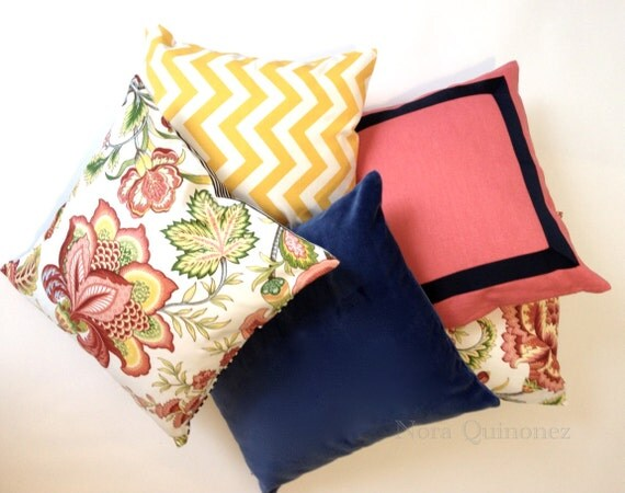 Decorative Pillow Cover -Andrea Floral Print with Black and White Striped Backing - Invisible Zipper Closure