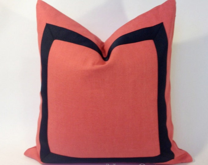 Coral Linen Pillow Cover with Navy Blue Grosgrain Ribbon- Invisible zipper Closure- Cushion Cover 45x45 cm
