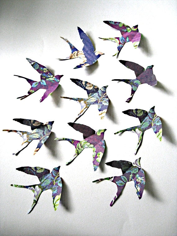 Wall Art 3 Line Of Birds : Items similar to set of d handcrafted flying birds