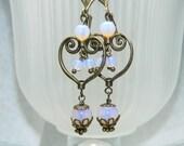 Pink Opaline Moonstone dangle Drop Scroll Earrings with Antique Brass