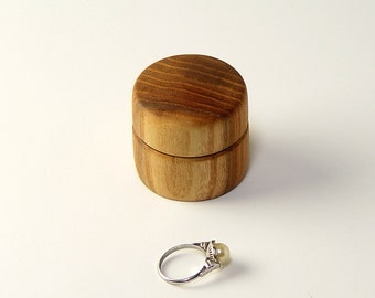 "Ring Box, Handturned from Reclaimed Elm Wood. 1.5"" Tall,  Wide"