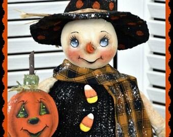 Primitive Snowman Pattern, PDF doll pattern, Fall Into Winter, Halloween Pattern, PDF instand download pattern, Digital download pattern,