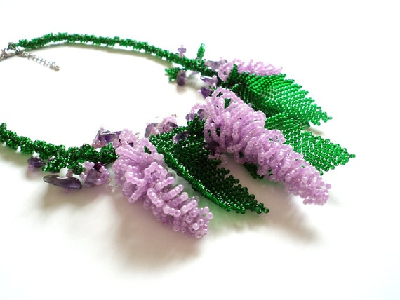 SALE Green Lilac Necklace, Spring Lilac Flower Necklace, Seed bead Necklace