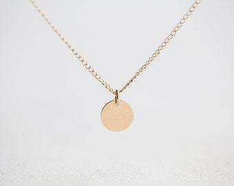 14k Gold Filled Dot Necklace - tiny gold disc drop, wear daily with any outfit, great for layering