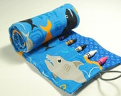 Crayon Roll Up - Sharks with blue (holds 16 crayons)