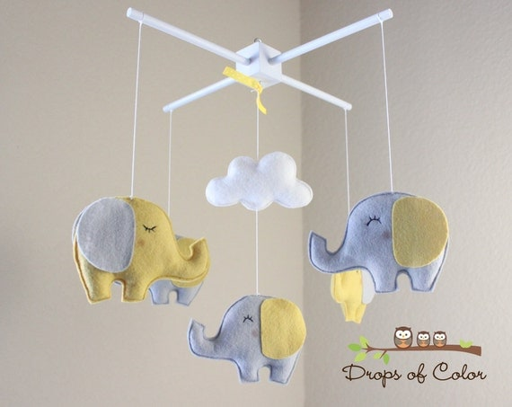 baby mobile elephant mobile yellow and gray baby crib. Black Bedroom Furniture Sets. Home Design Ideas
