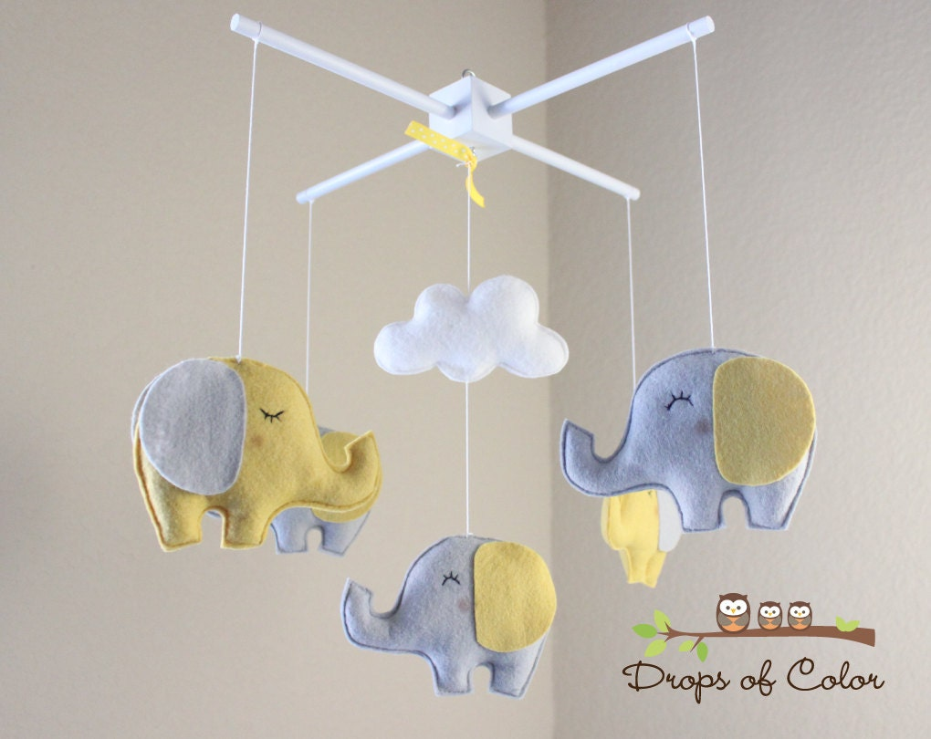 Baby Mobile Elephant Mobile Yellow And Gray Baby Crib