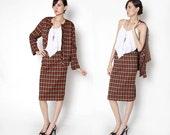 Vintage 80s Plaid Burnt Orange working Girl 2 piece suit / tartan / M L