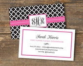 Business Card - Preppy Chic - Quatrefoil Monogram - Digital Download