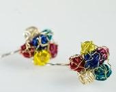 Ear pin flower earrings Ear stud flower jewelry Earring minimal modern Cute flower earring Wire flower earrings Unique flower earrings.