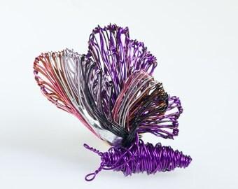 Purple butterfly brooch pin Wire jewelry Art jewelry Unusual jewelry Butterfly jewelry Cute jewelry Statement jewelry Unique jewelry women