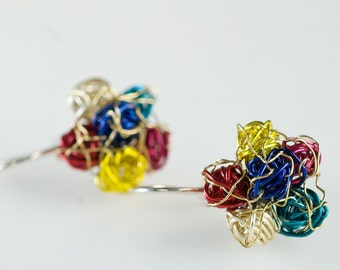 Flower earrings Ear pins Multicolor earrings Colorful earrings Wire wrapped jewelry Everyday earrings Birthday gift for her Abstract flower