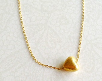 Gold Heart Necklace Everyday Necklace Valentine Jewellery Love 14k Gold Sweetheart