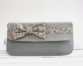 Gray Linen Bow Tie Clutch, Liberty of London,  Bags & Purses, Handbag, Clutch, Wallet - AppleWhite