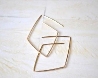 Gold Hoop Earrings Geometric Gold Earrings Simple Gold Earrings Diamond Earrings