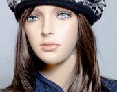 Animal Print Black Beret Hat reversible