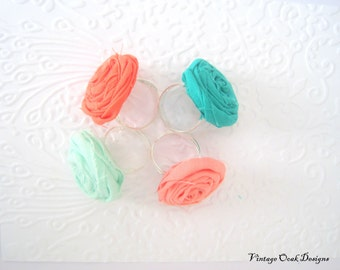 Boho Flower Ring,Rosette Ring, Boho Mint Flower Ring, Boho Coral Rosette Adjustable Ring, Summer Jewelry, Bridesmaid Jewelry, Boho Jewelry