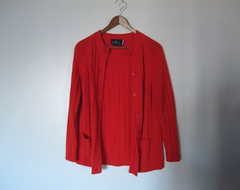 1960s vintage red mr rogers red cardigan XS S small M red grandpa cardigan XS S M