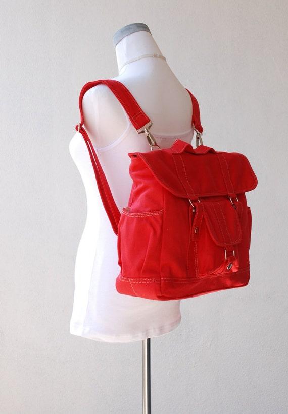 Pico2 Backpack  in Cherry Red (Water Resistant) Laptop / Shoulder Bag / Rucksack //Diaper Bag/ School Bag/ Women /For Her/ Gift