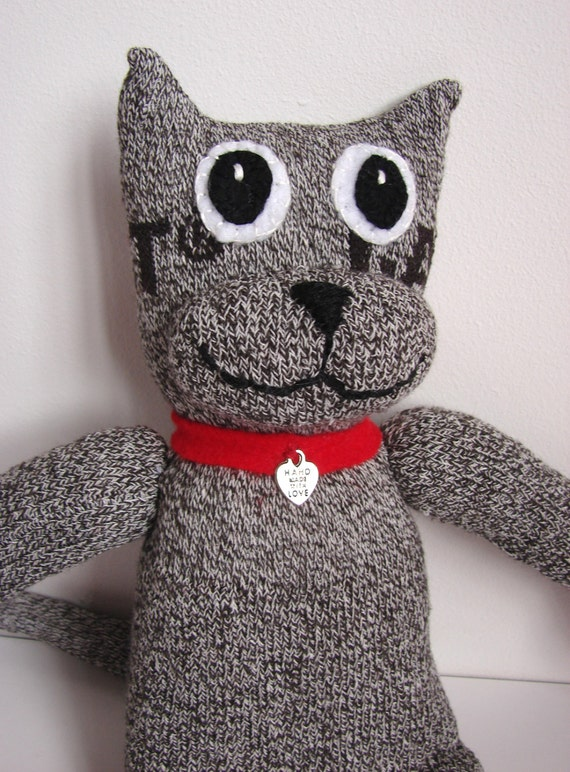 CODY the SOCK Cat Handmade Soft Cuddly and a little bit cheeky....alley cat rescue stray red collar handmade with love
